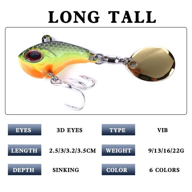 1Pcs Rotating Metal VIB vibration Bait Spinner Spoon Fishing Lures 9g 16g 21g Jigs Trout Winter Fishing Hard Baits Tackle Pesca