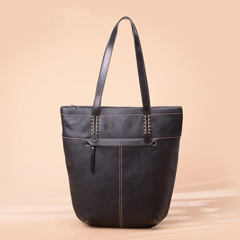 Bag Women's Genuine Leather Autumn And Winter New Style Bucket Bag Retro Shoulder Bag Women's Large-Volume Handmade Origional Po