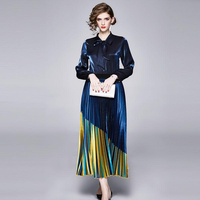 Europe And America 2020 WOMEN'S Dress Retro Loose Bow Shirt + Pleated Fashion Skirt Western Style Set