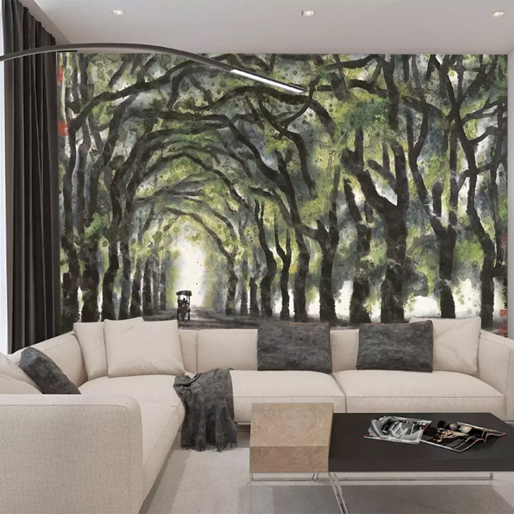 Customizable New Chinese Style Hand-Painted Summer Boulevard Landscape Painting Living Room Decoration Bedroom TV Background Wal