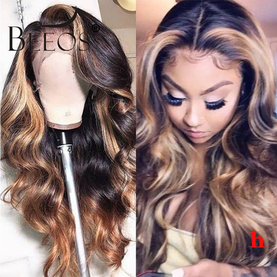 13*6 180 % Deep Part Lace Front Human Hair Wig Body Wave Ombre Honey Blonde Color Human Hair Bleached Knots Peruvian Remy Hair