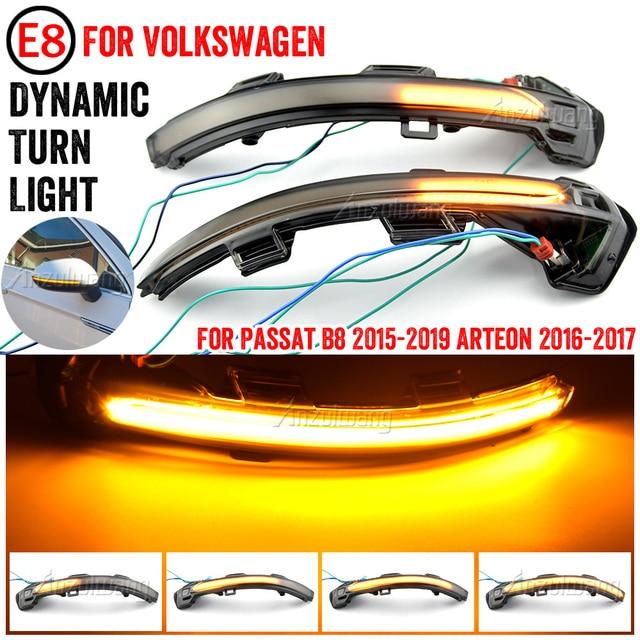 LED ไฟเลี้ยวไฟสัญญาณสำหรับ VW Passat B8 Variant Arteon กระจกมองหลังด้านข้างแบบไดนามิกลำดับไฟกระพริบ2015 2016 2017