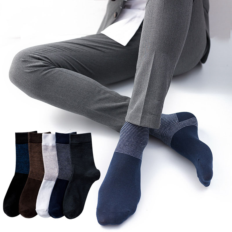 Cotton Striped Men Long Socks Business Breathable Spring Summer Solid Socks For Male High Quality Casual Thin Cool Black Socks
