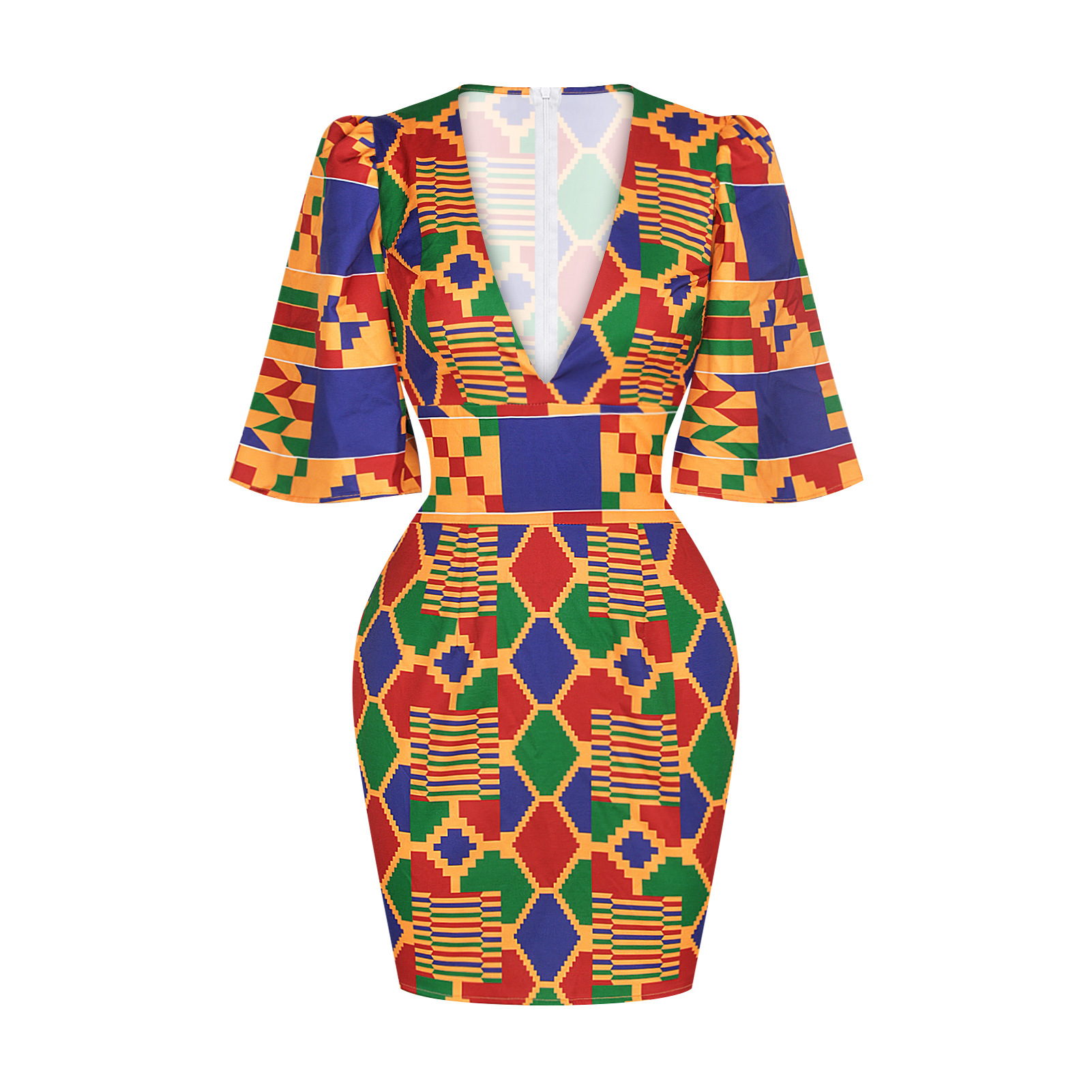 African Short Sleeve Printing Dress 5