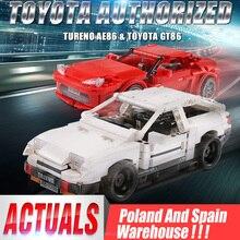 حقيقي إذن تكنيك الإبداعية MOC سيارة الأولي D تويوتا AE86 الكرتون موتور اللبنات الطوب متوافق اللعب