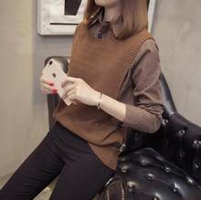 Autumn Winter New Women Vintage Sweater Shirt and Knitted Vest Fake Two Pieces Sweaters Black Khaki Gray Burgundy Green Tops LM2(China)