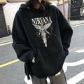 Уличный стиль, рок-группа Nirvana, ангел, хлопковая толстовка, пуловер с принтом, уличная одежда, уличный Длинный свитшот