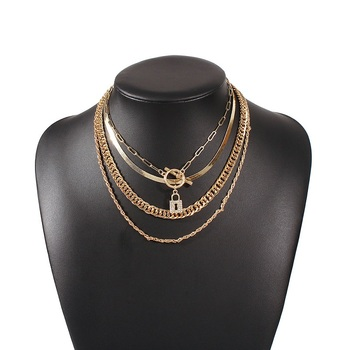 Exknl Layered Crystal Lock chain necklace 2020 girls cute necklace set claviclel chains women female fashion choker neck jewelry 2