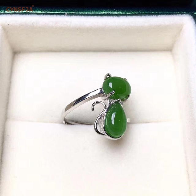 CYNSFJA Real Certified Natural Hetian Jasper 925 Sterling Silver Lucky Amulets Green Jade Ring High Quality Resizable Best Gifts