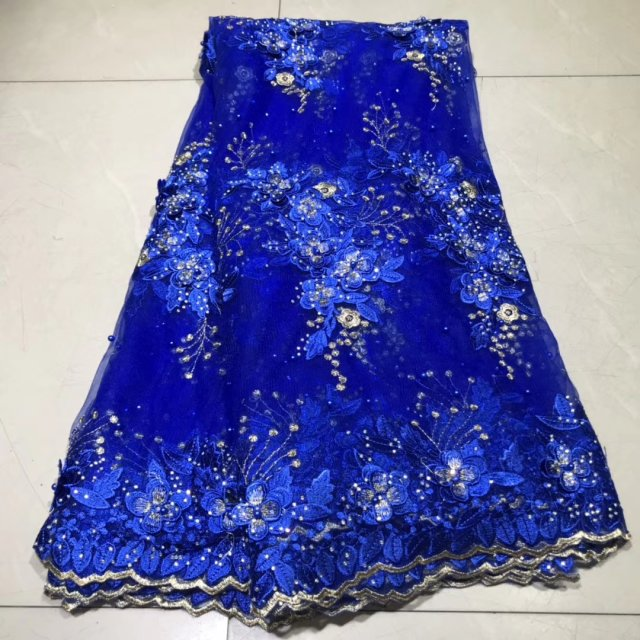 Blue  High Quality 2019 Tulle French Lace Pearls Fabrics 3D Embroidered African Nigerian Lace Fabric For Party Dress