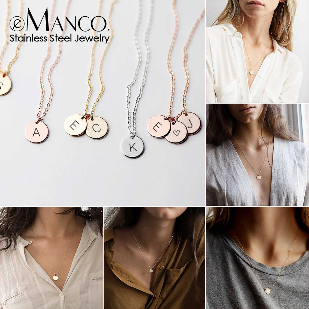 e-Manco Pendant Choker Statement Personalized Necklace Women Long Name Letter Necklace Layered Chain Stainless Steel Necklace