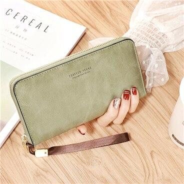 Женский кошелек, сумка для мобильного телефона, фирменный дизайн, Женский кошелек из искусственной кожи, длинные женские кошельки и кошельки, женский тонкий держатель для карт, кошелек - Цвет: green