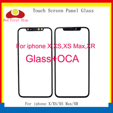 10Pcs/lot For iPhone X XR XS MAX Touch Screen Panel Front Outer With OCA Adhesive Tap For iPhone XS LCD Glass 2 in 1 Replacement цены