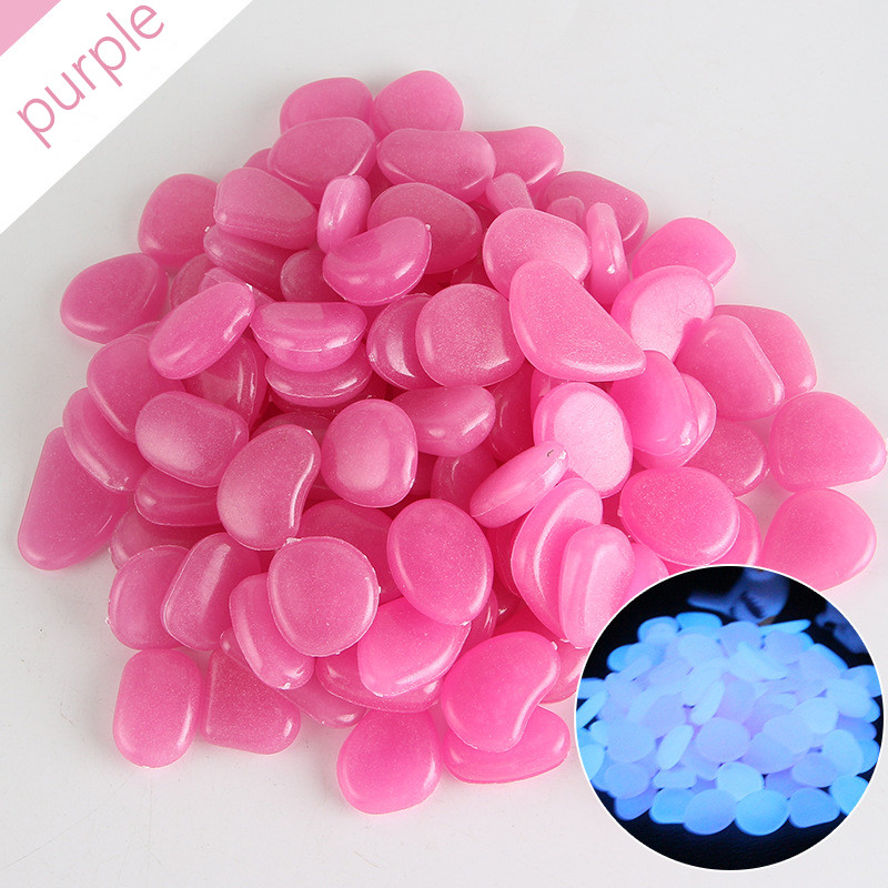 100Pcs Garden Luminous Glowing Stone Pebble Glow In The Dark Garden Glow Stones Rocks For Walkways Garden Path Patio Lawn Decor