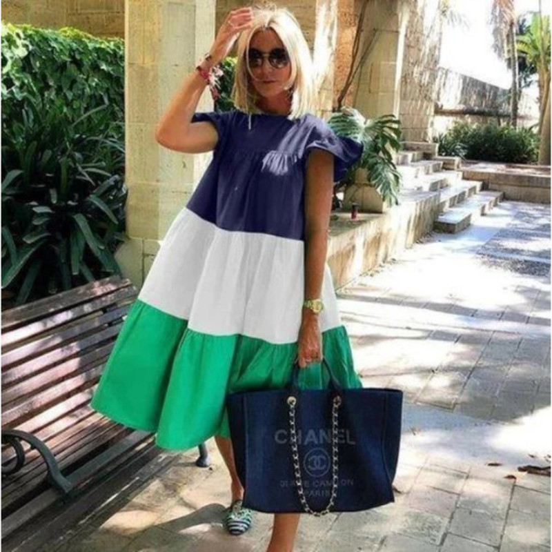 2021 New Summer Solid Color Women Dress Short Sleeve Loose Chic Pleated Dress Beach Casual White Black Pink Dress Lady Vestidos