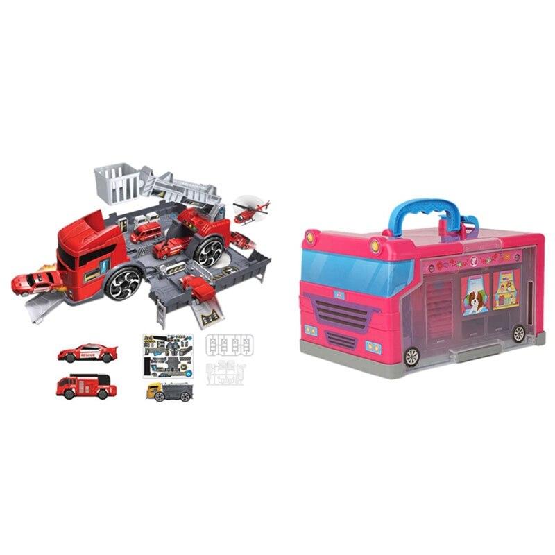 20Pcs Children Play House Storage House Travel Bus Storage Box & 1 Set Car Model Deformation Fire Engineering Vehicle