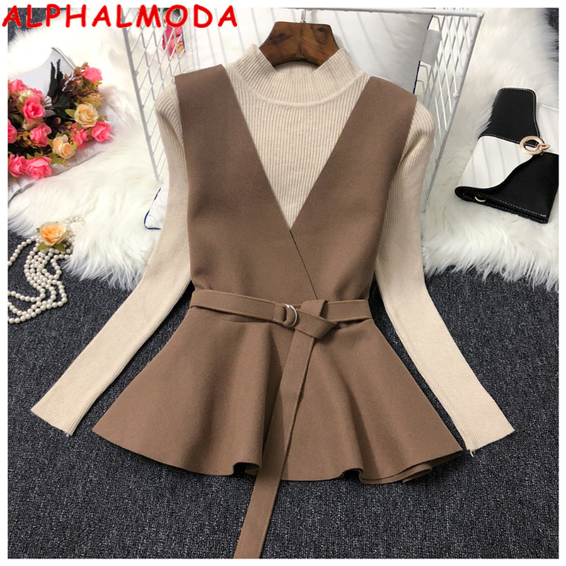 ALPHALMODA Fall 2019 New Knitted Bottom Shirt + Waistcoat Two-piece Fashion Suit Women Belted V-neck Vest + Long-sleeved Sweater