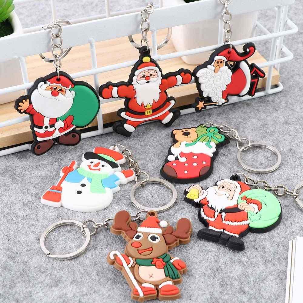 Bonito natal série chaveiro dos desenhos animados papai noel boneco de neve chaveiro pingente jóias presente de natal para as mulheres saco acessórios