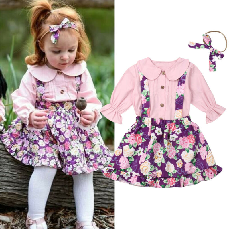 PUDCOCO Toddler Baby Girl Long Sleeve Tops Shirt Floral <font><b>Bib</b></font> <font><b>Skirt</b></font> Outfit Set 0-3T image