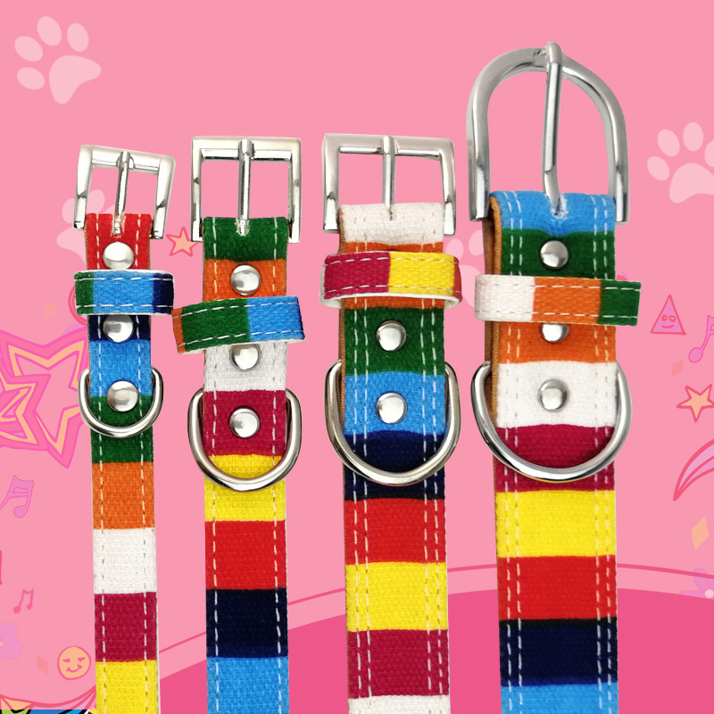 New Style Hand Holding Rope Seven Colours Tiao Pet Dog Collar Canvas + Pu Alloy Buckle Supporting Traction Pet Supplies