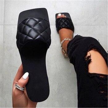 Women Sandals America Style Summer Shoes For Women Flat Sandals Rubber Shoes 2020 Leather Slides Plus Size Soulier Femme