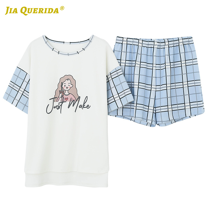 New Fashion Homesuit Homeclothes Crew Neck Short Sleeve Short Pants Cartoon Printing Woman Clothes Sleepwear Pajamas Set Pj Set