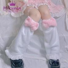 Chaussettes chaudes Lolita en velours pour filles, Style Harajuku japonais, rose doux, avec nœud papillon, hiver