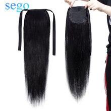 """SEGO 80 г-95 г 1""""-20"""" не Реми волосы лента Конский хвост на заколках человеческие волосы для наращивания конский хвост Натуральные Прямые бразильские волосы"""