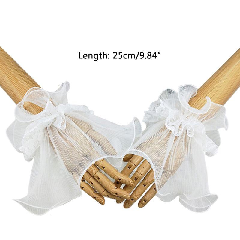 Women Bride Fingerless Gloves Ruffles Horn Cuffs Floral Lace Fake Sleeve