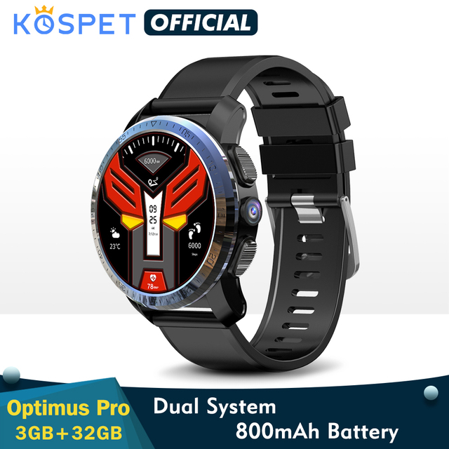 """KOSPET Optimus Pro 3GB 32GB Smart Watch GPS For Men WIFI Heart Rate Monitor 1.39"""" Camera Dual System 4G Smartwatch Android Phone"""