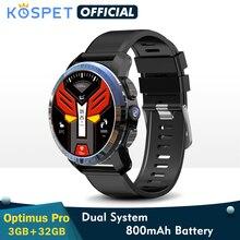 """KOSPET Optimus Pro KOSPET أوبتيموس برو 3 جيجابايت 32 جيجابايت ساعة ذكية جي بي إس للرجال WIFI رصد معدل ضربات القلب 1.39 """"كاميرا نظام مزدوج 4 جرام ساعة ذكية هاتف أندرويد"""