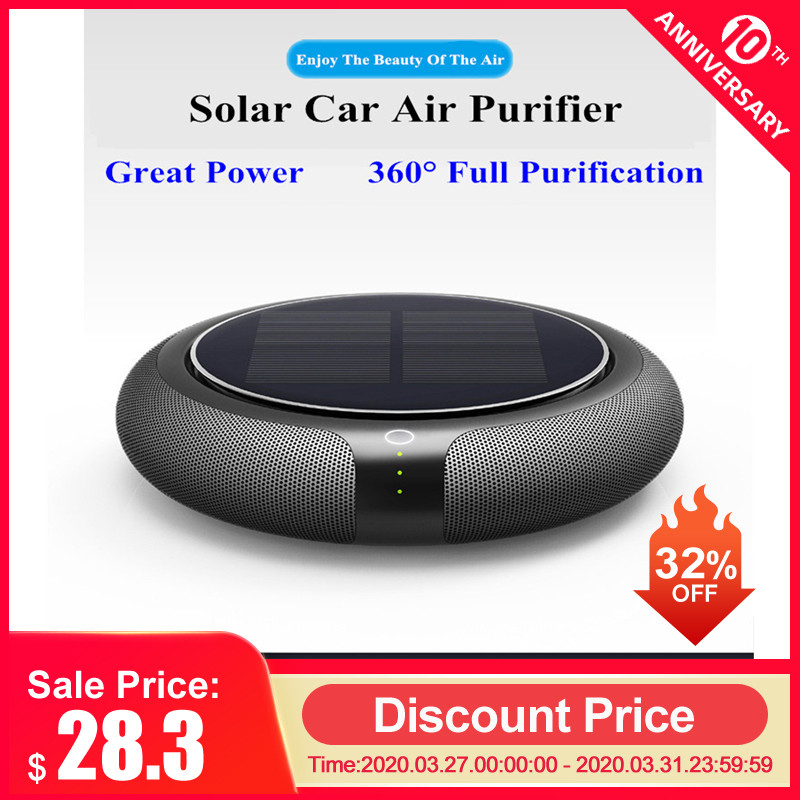 Portable Solar Car Air Purifier Vehicle Home No Noise Solar Power Filter Cleaner Purify High Speed Ionizer Anion Air Purifier