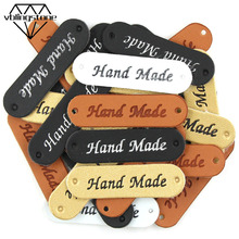 50Pcs Wholesale Label Brown/Yellow/Black/White Handmade Tags Clothing Labels Hand Made Leather Tags Hat Scarf Gift Decoration