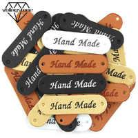 50Pcs Großhandel Label Braun/Gelb/Schwarz/Weiß Handgemachte Tags Kleidung Etiketten Hand Made Leder Tags Hut schal Geschenk Dekoration