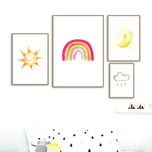 Sun Moon Star Cloud Rain Rainbow Nordic Posters And Prints Wall Art Canvas Painting Cartoon Wall Pictures For Kids Room Decor цена