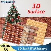 Wand papier 3D Selbst-Adhesive Ziegel Marmor Nachahmung Geprägte DIY Für Kinder Zimmer Küche Schlafzimmer Wasserdicht Aufkleber 3D Tapete