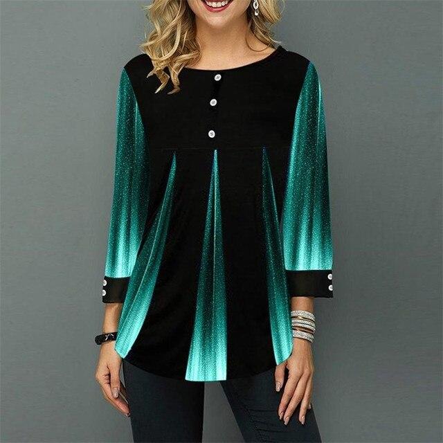 Shirt Women Spring Summer Blouse 3/4 Sleeve Casual 3D Gradient Printing Female Fashion Shirt Tops Plus Size 5XL StreetShirt 5