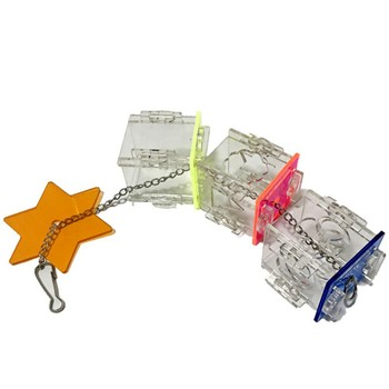 3 Layer Parrot Hanging Chewing Feeding Toy Bird Feeding Transparent Food Feeder Holder Star Shaped Box Cage Toy Bird Accessories 3