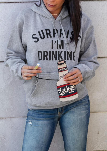 Letter Surprise I m Drinking Hoodies Woman Fleece Sweatshirt Woman Drop Shipping Hoodies Women