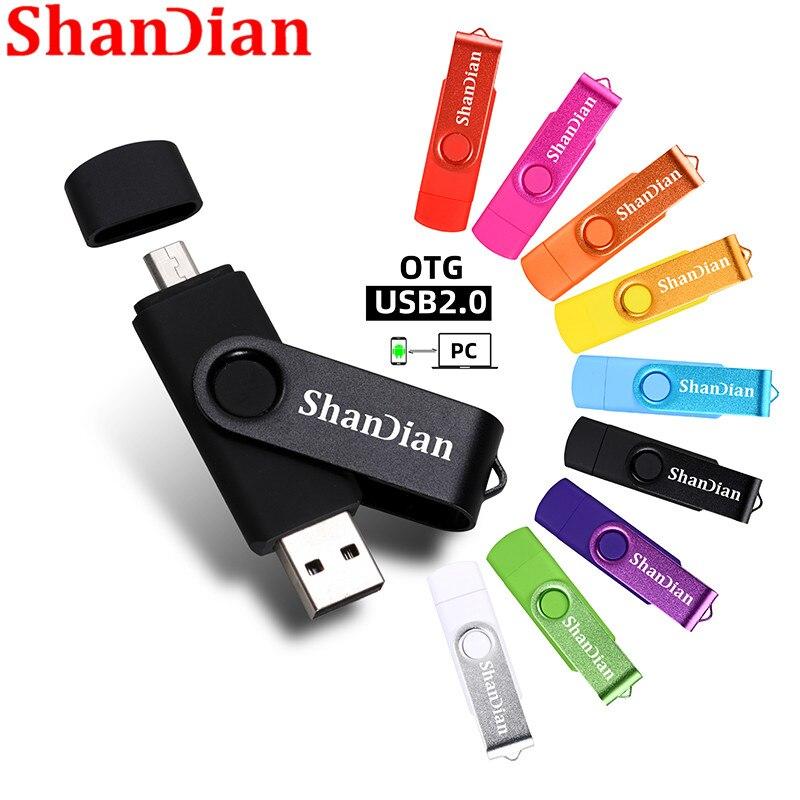 Rotatable Smart OTG Usb Flash Drive 64G 32G 16G 8G 4G Pen Drive Thumb Drives Memory Stick Android Otg Usb Key Free Shipping