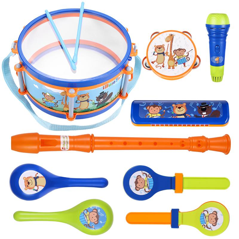 Diverse Musical Toys Odorless Rhythm Kit Toy Simulation Drum & Sand Hammer & Rattle Musical Instrument For Kid's Party 2020 New