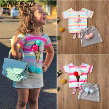 Summer Girls Clothes Set Toddler Kids Rainbow Striped Princess Tops T-shirt Mini Skirt Outfits 2Pcs Children Girl Casual Cloth toddler girl outfits 2018 striped patchwork t shirt tops denim pants clothes kids 2 pcs autumn suits children outfits clothing
