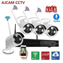 AJCAM 4CH Wireless CCTV System 1080P 1TB 4pcs Audio 2MP NVR IP  outdoor CCTV Camera IP Security System Video Surveillance Kit