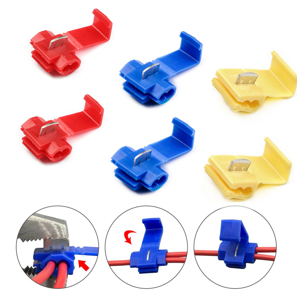 50/25Pcs Lock Wire Electrical Cable Connectors Insulated Terminals Crimp Quick Splice Connector For Car Electrical Cable Snap