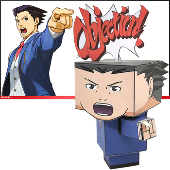 No-glue Gyakuten Saiban Phoenix Wright Cute Mini 3D Paper Model Papercraft Anime Figure DIY Cubee Kids Adult Craft Toys CS-043 image