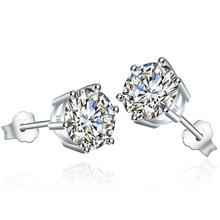 S925 sterling  earrings six-claw Korean fashion zircon crystal jewelry Christmas