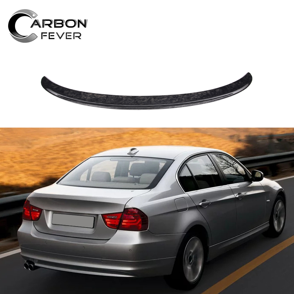 Forged Carbon Rear Trunk Spoiler Wing Lip For BMW 3 Series E90 2005-2011 image