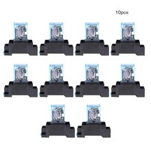цена на 10 Pcs 12 V 24 V Dc 220 V Ac Coil Power Relay Ly2Nj Dpdt 8 Pin Hh62P Jqx-13F Met Socket Base Relay With Base
