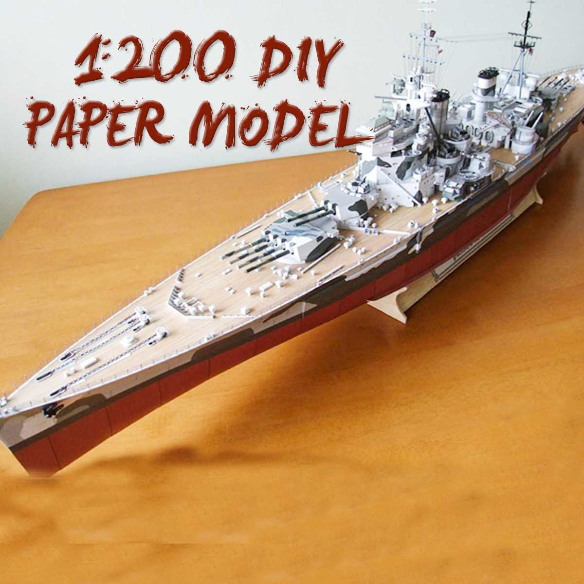 1:200 Battleship DIY Large 3D Paper Model British Battleships Of Wales Ship Military Toy High Simulation Children Gifts