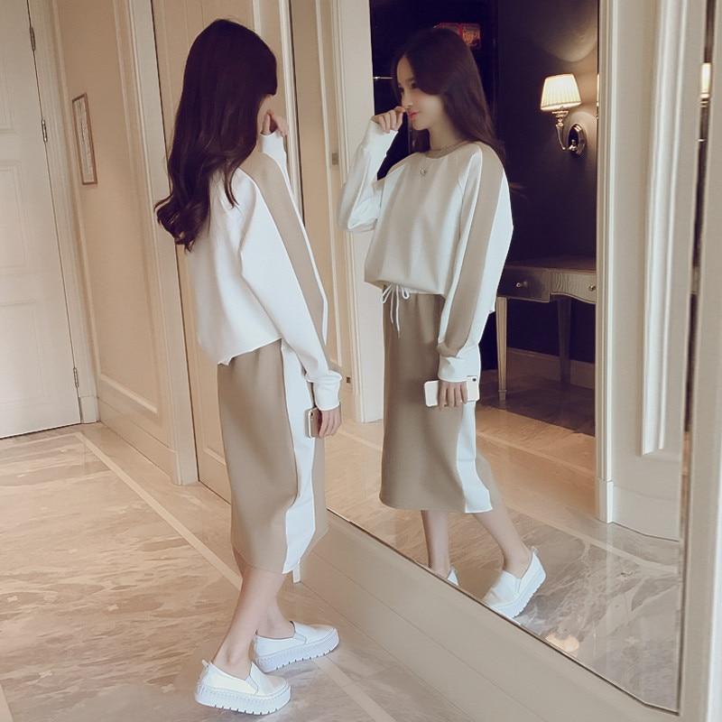 Two Piece Sets Women High Waist Midi Skirts Sets Spring Autumn 2019 Fashion Casual Long Sleeve Sweatshirt Sports Suits Plus Size